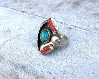 Vintage Old Pawn Native American Silver Turquoise Coral Ring