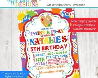Primary color invite etsy art birthday party invitation painting party painting birthday artist birthday stopboris Image collections