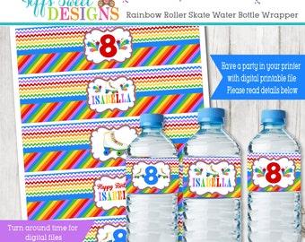 Rainbow Roller Skate Birthday Party -   Water Bottle Wrapper - Roller Skate Water Bottle Label - Printable -