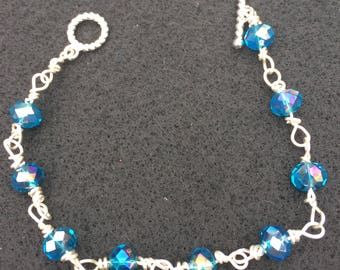Blue bracelet that is wire wrapped with silver wire  //bridesmaids gift//mothers day gift//stacked bracelet
