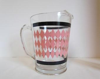 Vintage Pink And Black Pitcher Harlequin Argyle Diamond Drink Beverage Iced Tea Sangria Water Beer Orange Juice Pitcher Retro Barware