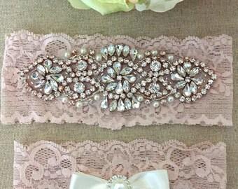 Rose Gold Wedding Garter Set - Pink Bridal Garter - Rhinestone Garter - Pearl Garter - Lace Garter - Wedding Garter Belt - Toss Garter