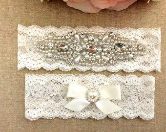 Wedding Lace Garter Set - Rhinestone Garter - Pearl Garter - Keepsake Garter - Wedding Garter Belt - Toss Garter - Bridal Garter