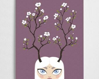 Forest girl illustration, flower art print // Flora