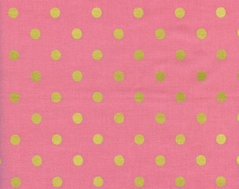 Caterpiller Dot in Pink (metallic)- Wonderland by Rifle Paper Co for Cotton and Steel