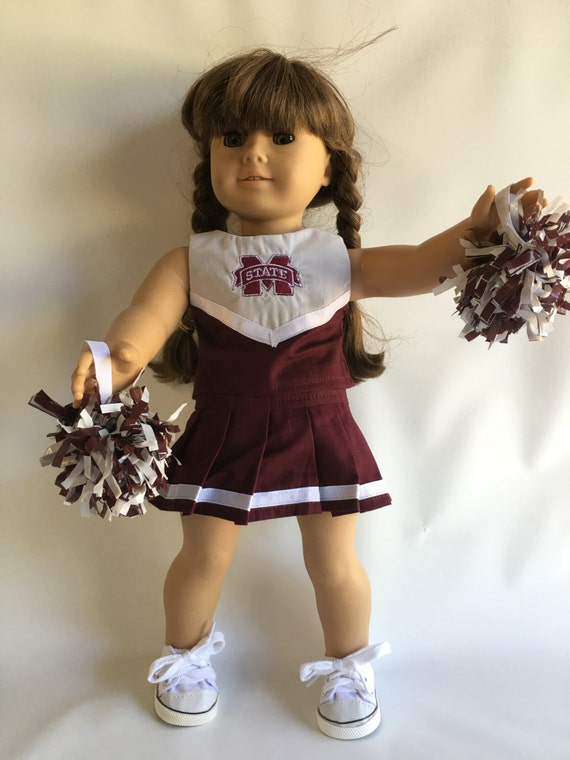 18 Doll Cheer Outfit with Mississippi State Logo and