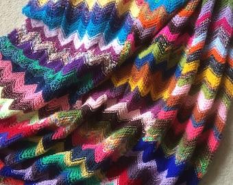 multicolored knit plaid (185 cm x 110 cm)