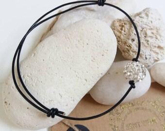 Leather and Shamballa Bead Friendship Bracelet