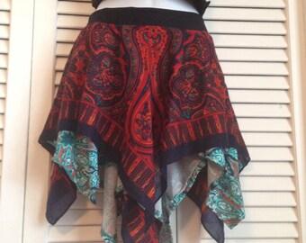 Blue Red Paisley Fairy Skirt