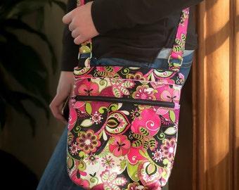 Large pink floral crossbody purse, women's crossbody bag, hipster bag, messenger bag, adjustable crossbody bag, women's handbag, sling bag
