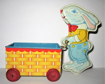 Vintage Easter Bunny Rabbit and Cart Tin Litho Toy by J. Chein & Co. Made in U.S.A.