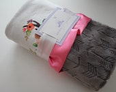 Floral Girl Deer with White Background and Gray Embossed Arrow Minky Baby Blanket, Carnation Pink Satin Trim - Crib Bedding, Antlers, Lodge