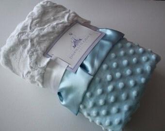 White Embossed Lattice and Baby Blue Minky Dot Baby Blanket with Baby Blue Satin Trim - Baby Boy, Crib Bedding, Christening, Baptism