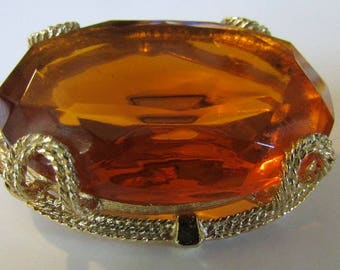 Amber Brooch, Large Honey Brooch, Amber Statement Brooch, Chunky Brooch, Autumn Brooch, Gold Tone, Free US Shipping, Mothers Day Gift