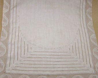 Vintage Linen Table Runner with Lace Edges and Cutwork Embroidery