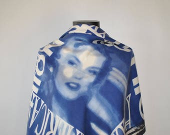 Vintage OTTO KERN PRINTED silk scarf , hand rolled silk scarf..........(312)