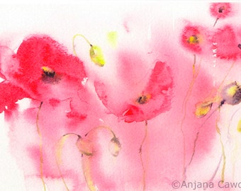 Poppy Design 4 - Blank Greetings Card, Watercolour Card, Watercolor Card, Poppy Card, Poppy Landscape