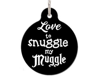 Love To Snuggle My Muggle Pet Tag, Harry Potter Dog Tag | FREE Personalization