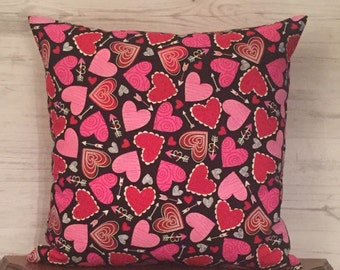 Valentines Day Pillow - Pink and Black Pillow Cover - Black and Pink - Valentines Day Decor - Pink Throw Pillow - Red Hearts