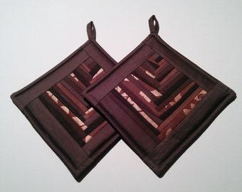 Potholders Handmade Patchwork Contemporary Chocolate Brown Pot Holder Set of 2