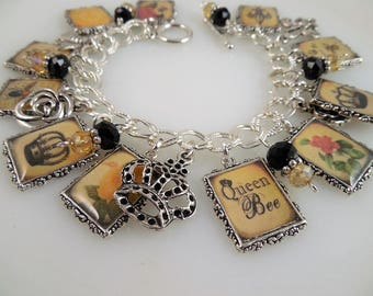 Queen Bee Charm Bracelet/ Altered Art Charm Bracelet/ Picture Charms