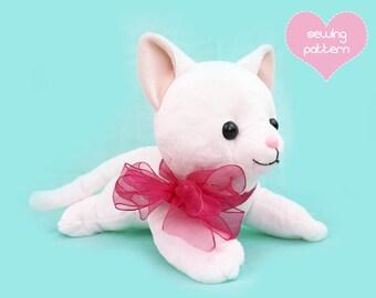 """PDF sewing pattern - Cat stuffed animal - large kawaii laying feline plushie easy DIY plush soft toy kitten 15"""" floppy"""