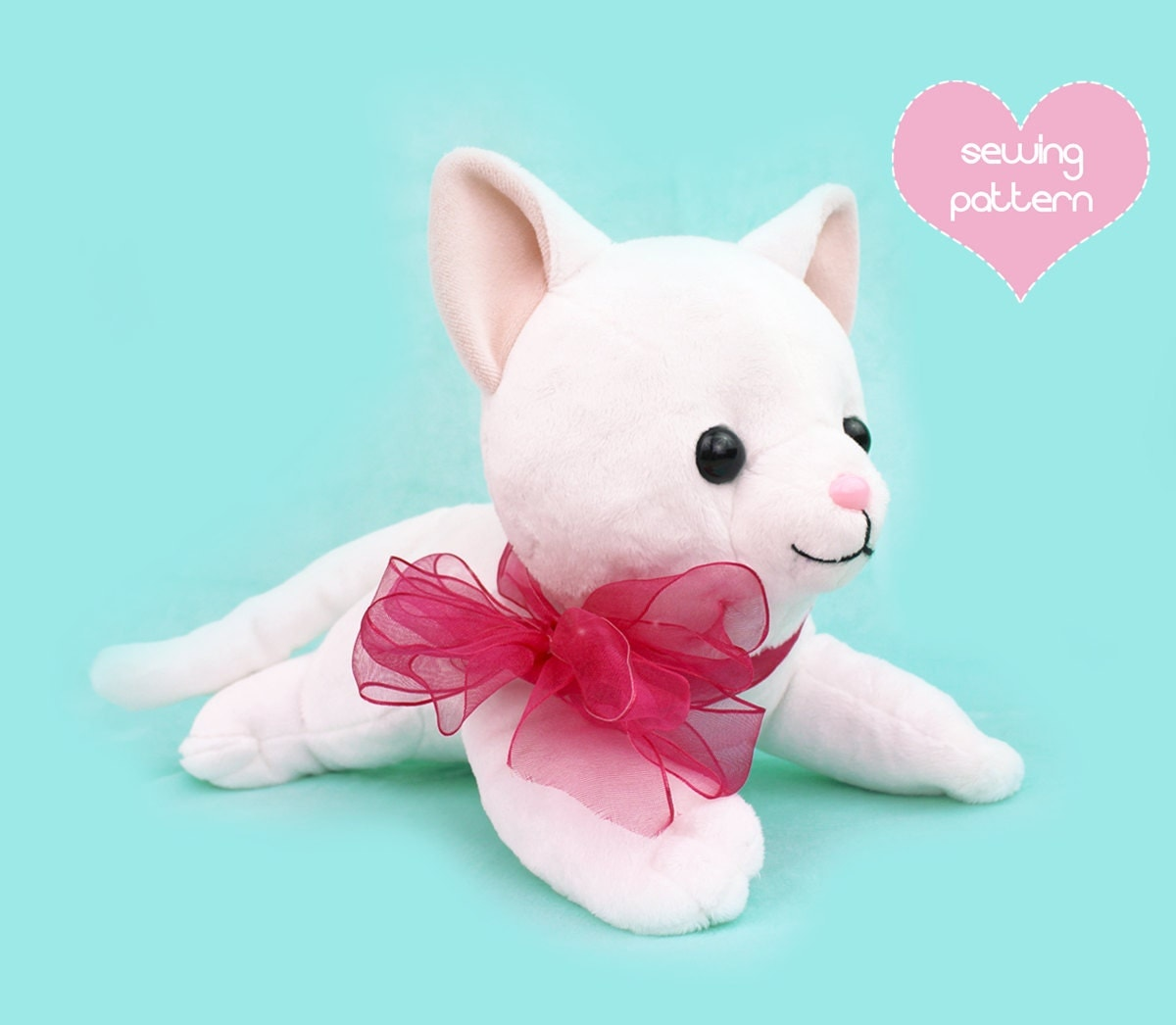 sewing templates for stuffed animals - pdf sewing pattern cat stuffed animal large kawaii