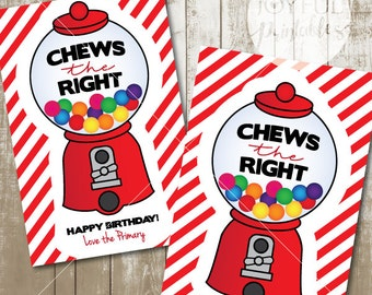 """Chews the Right Tag. Choose the Right Tag. LDS Lesson or Birthday Handout and Tag. Printable File. 4"""" x 6""""."""