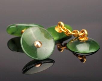Antique Nephrite Jade Cufflinks, 14k Gold in Box, c1920s