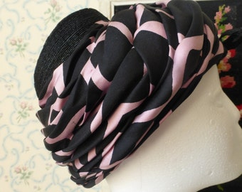 Amazing very 1950s Gaby Louise of Bond Street London pink black retro hat