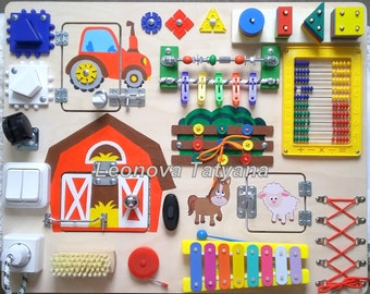 """Busy Board """"Farm"""", Activity Board, Sensory Board, Wooden Toy,  Montessori educational Toy, Fine motor skills board for toddlers and babies"""