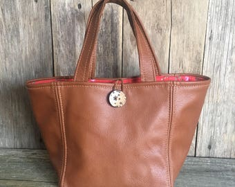 Leather Tote bag,shopping bag,small tote bag with grab handles,leather handbag,genuine tan leather,