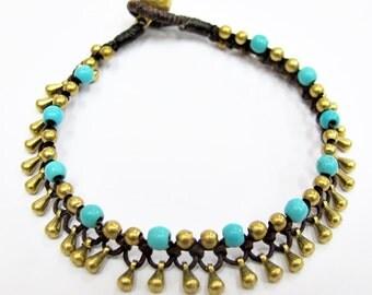 Golden Rain Bracelet or Anklet - Turquoise Bead Raindrop Brass Bead Bracelet.
