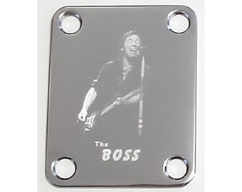 Guitar Parts - Neck Mounting Plate - Custom Engraved Etched - BRUCE SPRINGSTEEN The Boss - Chrome or Gold