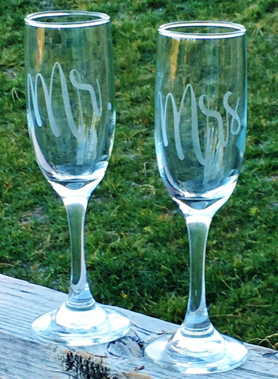 Mr. Mrs. Etched Champagne Glass, Champagne Flute, Wedding Gift, Anniversary Gift, Bridal Gift