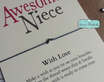 NIECE Friendship Bracelet Gift, Niece Birthday, Niece card, Niece Wish Bracelet, Gift for Niece, Love Niece, Sterling Silver Niece Gift,