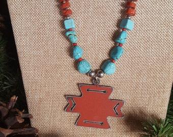 Red Aztec Cross Necklace