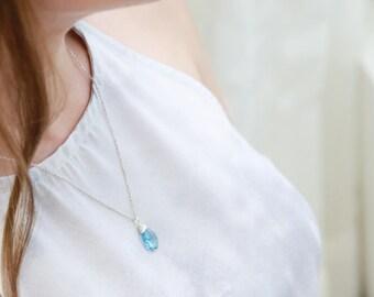 Capricorn Gift. Blue Topaz Necklace. Blue Topaz Swarovski Necklace. Blue Swarovski Crystal Necklace. Wire Wrap