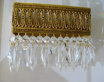 """VINTAGE Large 10"""" x  8"""" BRASS Crystal  Wall SCONCE from Spain - Custom Dressed - 4 Available"""