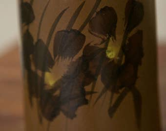1970 Brown Floral Vintage Studio Pottery Vase - Pacific Stoneware Pottery- Bennett Welsh Handmade & Signed