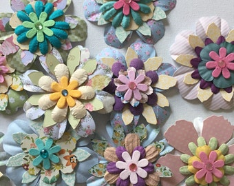 8 Paper Flower, Flower Embellishments, Handmade, Large Flowers, Assorted Designs, Card Making, Crafts, Wedding Stationery, Altered Art,