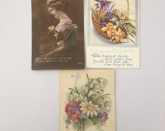 Vintage Easter Postcards, Set of 3 Postcards, Easter Greetings Postcards, Stamped Postcards, Postmarked, Vintage Ephemera,
