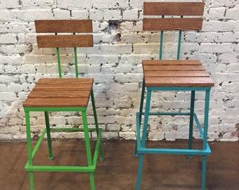 Bar stools Kitchen Bar Stool Industrial bar stool Counter Stool Industrial stool & Adjustable Bar Stool Stained Pine Wood u0026 Steel Modern islam-shia.org