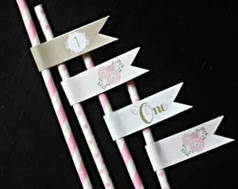 Girl 1st Birthday Party Decorations,Paper Straws + Straw Flags.  Floral Straw/Floral Party Decor.  Floral Wreath/Floral Birthday/Shabby Chic