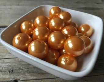 20mm Orange Pearl Chunky Bead, Bubblegum Bead, Acrylic Bead, DIY Chunky Necklace, 10 Count