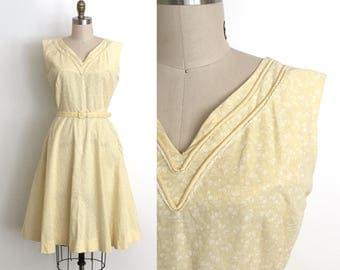 vintage 1940s dress | 40s calico print cotton dress