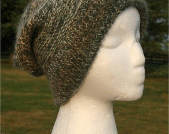 Alpaca Knit Hat in Green with Sparkles