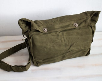 Vintage Russian Army Green Military Canvas Gas Mask Army Bag Soviet Unused USSR Cold War Army Bag Crossbody Bag ammo messenger Leather