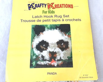"Panda Bear Latch Hook Rug Set Wall Hanging Kit Krafty Kreations for Kids 8"" x 8"""