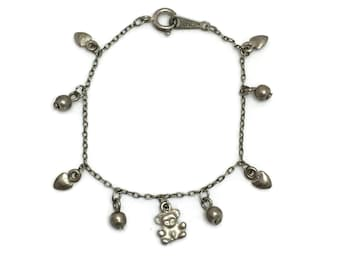Child's Silver Tone Teddy Bear Charm Bracelet, Bear and Hearts Bracelet, Vintage Claire's Baby Charm Bracelet, Tarnished Silver Look